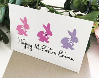Happy First Easter Card Personalised Gift for Baby Girl Pink Purple Bunny Rabbits Easter Bunny 1st Easter Gift 1st Easter Greeting Card