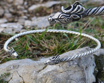 FIANNA Celtic Deer Torc Sterling SILVER Stag Celts Pagan Jewelry Jewellery Torques Torq Druid Ag Necklace Jewel Wada Sca Herne Cernunnos