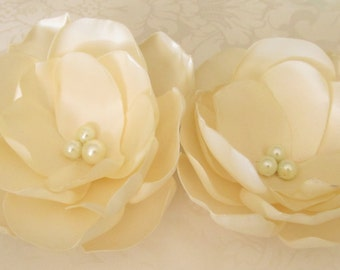 Satin Hair Flower 2pc set /  You choose the color