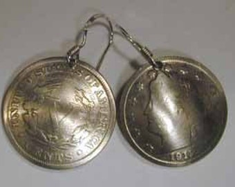 Coin Jewelry -Antique V Nickel earrings-free shipping