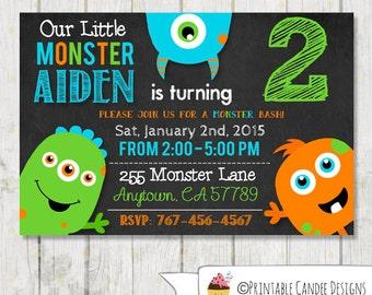 Monster Birthday Invitation - Little monster Birthday - Chalboard Monster invitation - Monster Bash Party - DIY Custom Printable
