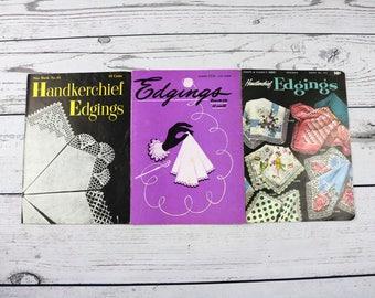 Lot of 3 Vintage 1940s Handkerchief Edgings Books- Coats and Clarks-J&P Coats- Star Books- Crochet Edgings