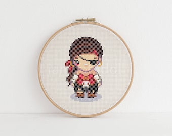 Pirate - a cute pixel art counted cross stitch pattern