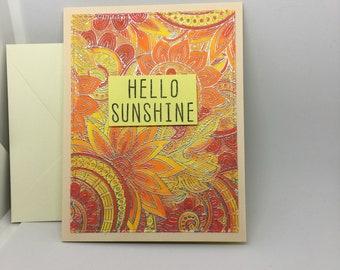 Hello sunshine, handmade greeting card, card to say hello