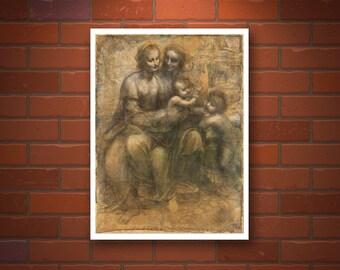 Leonardo da Vinci paintings, drawings, Renaissance antique art prints, Virgin and Child with St Anne and John the Baptist FINE ART PRINT