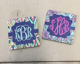 Drink Coaster Lilly Pulitzer inspired monogrammed  ... 3 Styles to choose from ...Choose your print, frame and mono