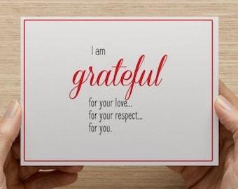 Notecard. Grateful greetings.  Love, Respect, you.  Single card.