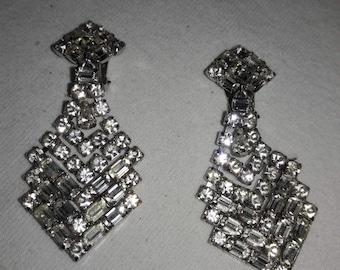 Crystal Clear Rhinestone Vintage Waterfall Clip On Earrings