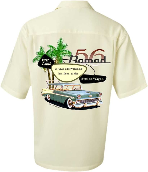 Men's Car Shirt-1955 CHEVY NOMAD-Vintage Look-Nomad,Men's Classic Car Shirt,car gift,vintage car,men's gifts, dad gift