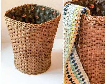 Wollkorb | Vintage Basket Lined | Wicker Rattan | Utensilo | 70s | Vintage Basket Lockable | Basket | Collecting Tanks | 70s