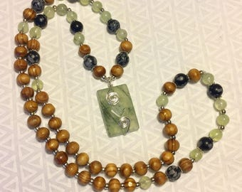 Wire Wrapped Prehnite and Snowflake Obsidian Beaded Necklace