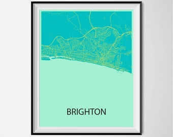 Brighton Map Poster Print - Blue and Yellow