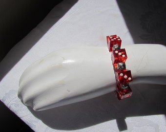 Red  Dice Bracelet Lucite. Las Vegas. Luck. Gamble stretchy