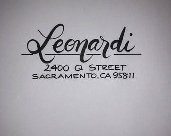 Self-inking return address stamp - hand lettered