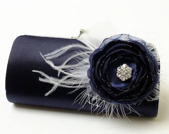 Midnight Blue Clutch - Bridal Clutch - Bridesmaid Clutch - Feather Clutch With Rhinestones  - Kisslock Snap Bouquet Clutch -