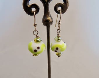 White and Green Lampwork Glass Bead Earrings
