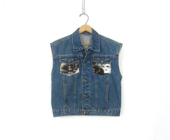 Cat patches Jean Vest Denim Sleeveless Jean Jacket Blue Urban Novelty Vest retro 1990s Button Up Jean Shirt Women's Medium