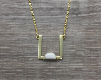 Gold Square Necklace, Delicate Layering Necklace with stone, Gold Geometric Necklace, Minimalistic necklace, Necklace for women