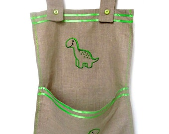 Embroidered Diaper Bag with Embroidered Dinosaur, Natural linen 100%, Crib Bag, Eco-friendly, Baby Boy Bag