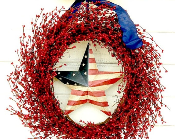 Featured listing image: 4th of July Wreath-Summer Wreath-PATRIOTIC Door Wreath-July 4th Star Wreath-Holiday Wreath-Americana Door Wreath-Military Gift-Summer Decor