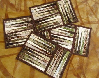 Placemats Set of 4 Neutral Brown Green Beige