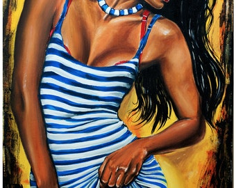 "JEREMY WORST ""Blue Stripes"" Original Artwork Signed FIne art Print dress sexy woman latin fashion style hair black"