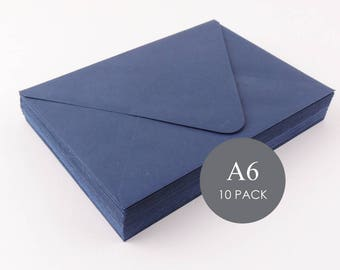"A6 Euro Flap Envelopes - Mailers & Mailing Envelopes, Wedding Envelopes, 4 3/4"" x 6 1/2"", Navy , sold in sets of 10"