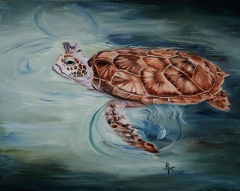 Green Sea Turtle Original Oil Painting 16x20""
