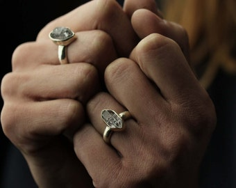 Limited edition- Raw Black Phantom herkimer diamond crystal antique silver witch ring set in sterling silver