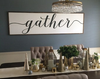 Sign With Quote: Gather Distressed Wood Sign in black and white