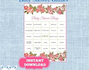 Vintage Floral Baby Shower Bingo Cards Prefilled Words -Blossom Flower Bingo Gift Baby Shower-Printable Baby Shower Game-Instant Download