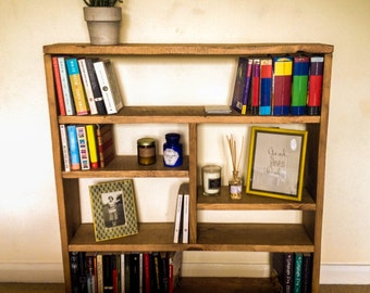 "Small bookcase,diy bookcase,low bookcase,solid wood bookcases,wooden bookcase,low bookcase,rustic furniture,slim bookcase,diy ""Sweet home""."