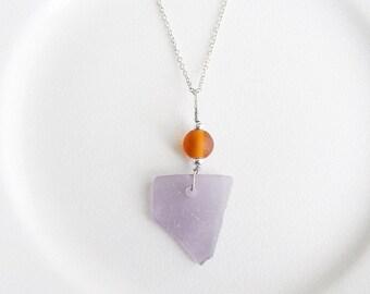 Purple Sea Glass Necklace, Genuine Chesapeake Bay Beach Glass Jewelry, Amber Recycled Glass Pendant, Summer Jewley