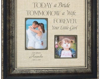 Dad Wedding Gift, Father of the Bride Gift, Mother of the Bride Gift, Wedding Photo Frame, dad wedding handkerchief, TODAY A BRIDE, 16x16