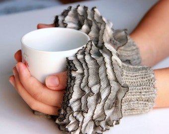 Fingerless Gloves, cozy hand knitted mittens Hand  Knit elegant ruffled gray gloves, frilly gloves gray colored  2018 autumn winter  fashion
