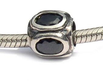 Sterling Silver European Bead Black Oval Cut Cubic Zirconia
