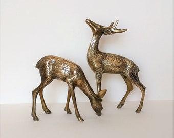 Vintage pair-set of 2- brass deer figurines - stag, buck, doe, fawn - home decor - boho / bohemian