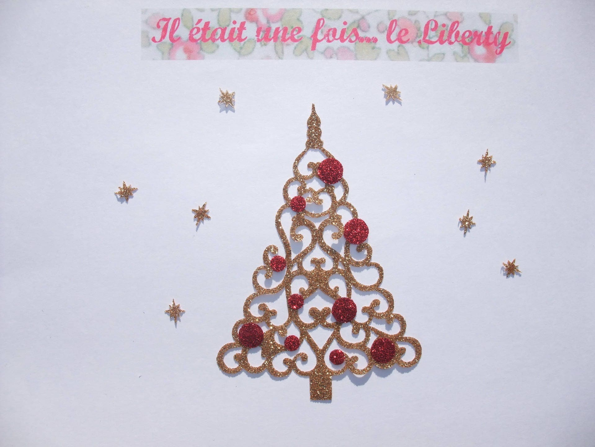 Applied fusible patch iron-on gold glittery fabric Christmas tree ...