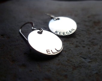 Mother's earrings sterling name children mom grandma hand stamped custom personalized kids engraved