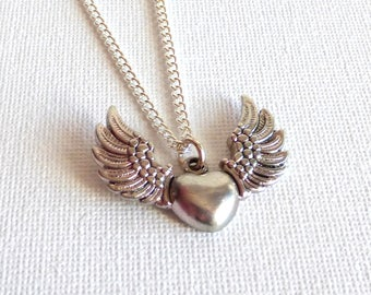 Necklace silver heart for women/heart wing/Heart Necklace/heart jewelry Womens jewelry.