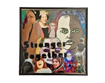 Vinyl Record Cover Collage Art Original Stronger Together Feminist Mixed Media Album Cover Artwork Framed Home Decor Upcycled Wall Art