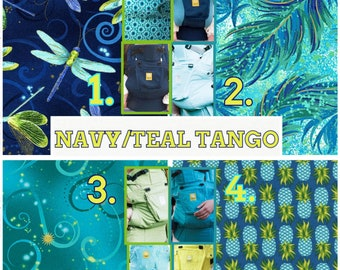 Ergo360 or Lillebaby 3-pc sets. Headrest Bib/Straight pads. Curved pads upgrade available.  NAVY/TEAL TANGO.