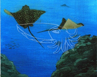Spotted Eagle Rays, 4.5x6 Original Sea Life Acrylic Painting on Acrylic Paper