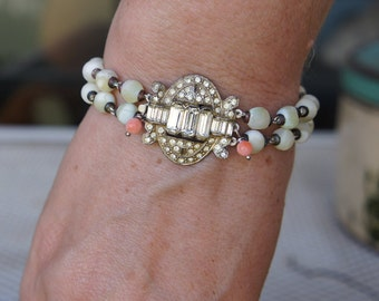 Antique Assemblage Bracelet with Art Deco Rhinestone Clasp,Mother of Pearl beads and Coral Accents