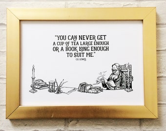 CS Lewis Quote ~ Mothers Day Gift ~ A4 Poster Quote Art Print ~ Bookish Gift ~ Gift for Booklovers ~ Literary Gift ~ Readers ~ Fathers Day