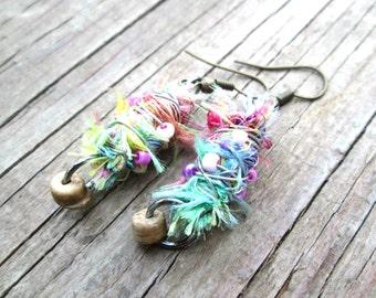Neon earrings - Eco friendly jewelry - Multicolored fiber earrings - Tie dye jewelry -  Boho earrings - Hippie Gypsy jewelry
