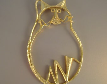 Large Vintage 1980s Modernist Open Wire Work Goldtone Kitty Cat Cat Lover Pin Brooch