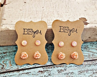 Peach Rose Earrings, Rose Studs, Peach Resin Earrings, Flower Earrings, Flower Girl Earrings, Little Girl Earrings, Small Earrings