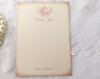 Tea Party Thank You Cards, Teapot Stationery, PinkTeapot, Set of 10