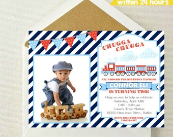 Train Photo Invitation / Train Birthday Photo Invitation / Train Birthday Party / Chugga Chugga Two Two / Train Party Invitation / Trains